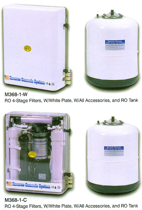 RO 4-Stage Filters, W/White Plate, W/All Accessories, and RO Tank / RO 4-Stage Filters, W/Clear Plate, W/All Accessories, and RO Tank